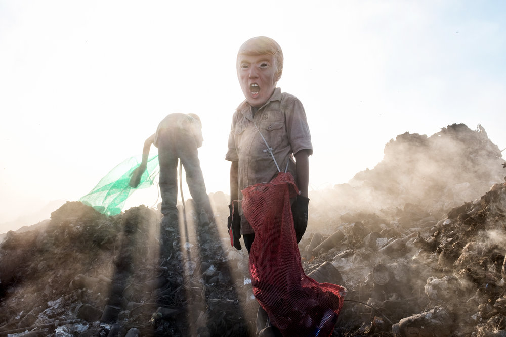 A young potential trump collecting cans in a landfill in Reynosa, Tamaulipas
