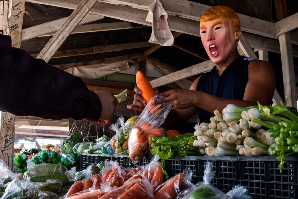 A trump selling vegetables in Mission, Texas