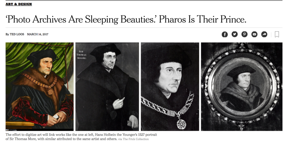 3.   Photo Archives Are Sleeping Beauties. Pharos Is Their Prince.   by Ted Loos,  The New York Times ;   New Messages at Some Museums: Don't Just Look. Do.   by Kerry Hannon,  The New York Times .   I often get asked by people why museums are so slow to digitize themselves, and alternatively in my own art circles why museums are allowing visitors to interrupt the museum going experience by giving visitors permission to use their mobile phones and Instagram their experiences. To both comments posed above I have a simple answer: time and money.   These two articles from  The New York Times  describe The Frick Collection's (in collaboration with several other institutions) ambitious project to digitize over 22 million artworks and how museums are addressing issues of social and cultural importance through interactive art exhibits.   Seeing artworks online through digitization of collections and utilizing social media platforms like Instagram is fantastic, because it allows museums to meet their mission of preserving and sharing art for the public good. It allows visitors from all over the world to experience art while reaching new audiences. But these new endeavors take time and support. If you want to see more work online, then support those institutions and more importantly be an active participant by giving them feedback on the ways you want art to interact with their collections/exhibitions.   Can someone who is photographing their experience at a museum actually be present and take in what they are seeing? The question of photography as a commodity and an intermediary to experiences is as old as the medium. As a classically trained photographer, I think not. Though, the question of best practices for increasing connection through digital means is not just an issue museums and cultural institutions are still figuring out, but one our collective culture is as well as we increasingly live our lives connected on online. I believe there is a way to live in both worlds, we just haven't perfected that way of life quite yet.