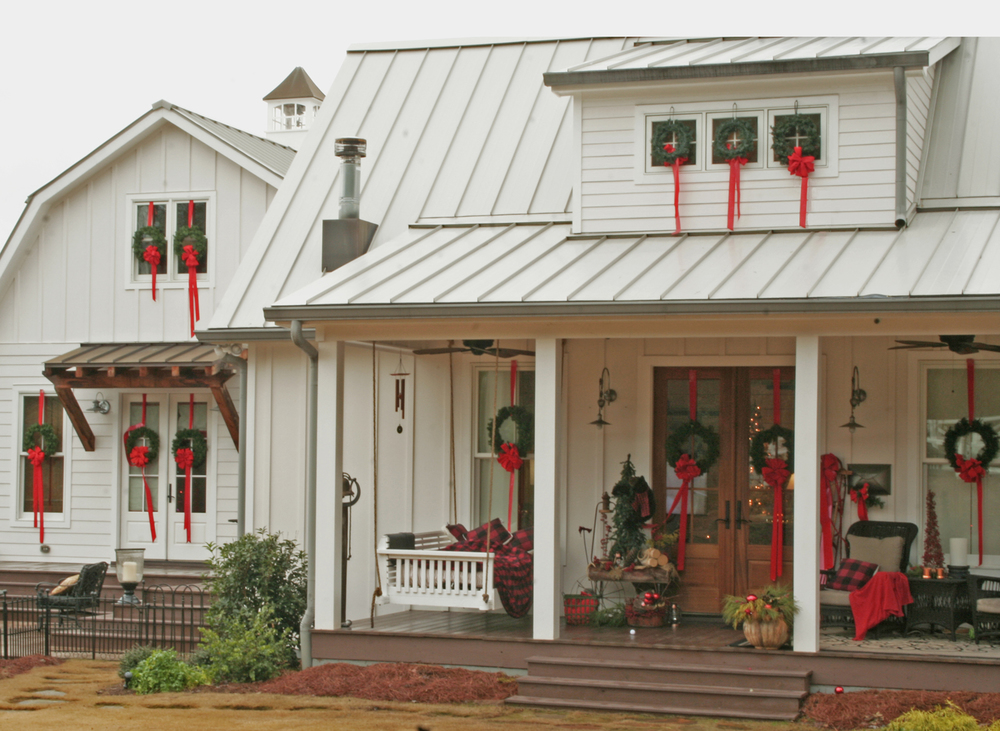 Christmas farmhouse exterior