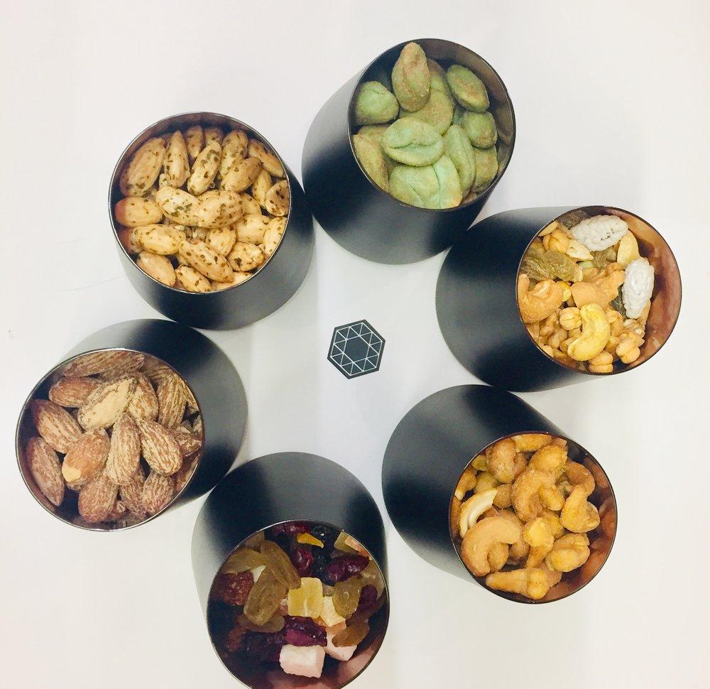 Wasabi Erdnüsse, Studentenfutter nach persischer Art, Cashewkerne Cheese, Edle Früchtemischung, Mandeln geräuchert, Mandeln Ocean  Foto: Pure Gruppe
