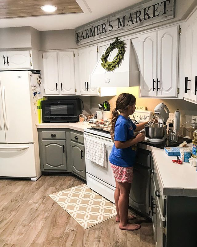 Baking with my girl after swimming while the boys run around in the wheelers.  We love the simple life❤️. #beautifulsummerevening