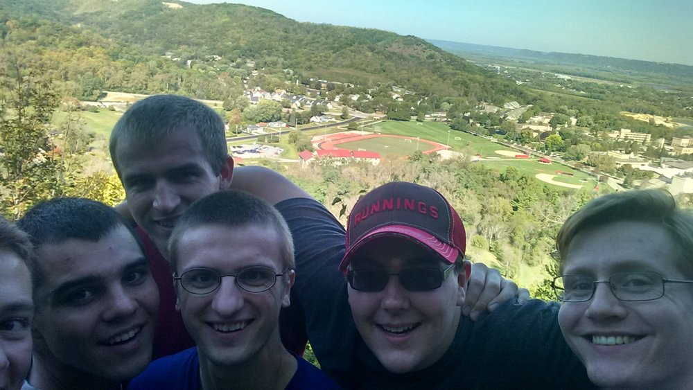 Last fall, John, Tanner, Day, Shawn and Troy went to Winona to visit Evan at Immaculate Heart of Mary Seminary. They took this selfie, overlooking the campus of the college and seminary.