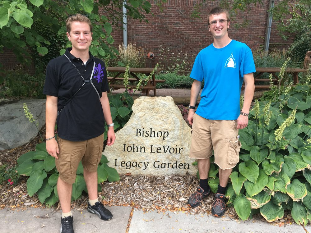 "While visiting the parishes of St. Michael and St. Mary in Stillwater, John Hayes and Shawn Polman stumbled upon the ""Bishop John LeVoir Legacy Garden."" Bishop LeVoir was the pastor of these parishes before being appointed the Bishop of New Ulm."