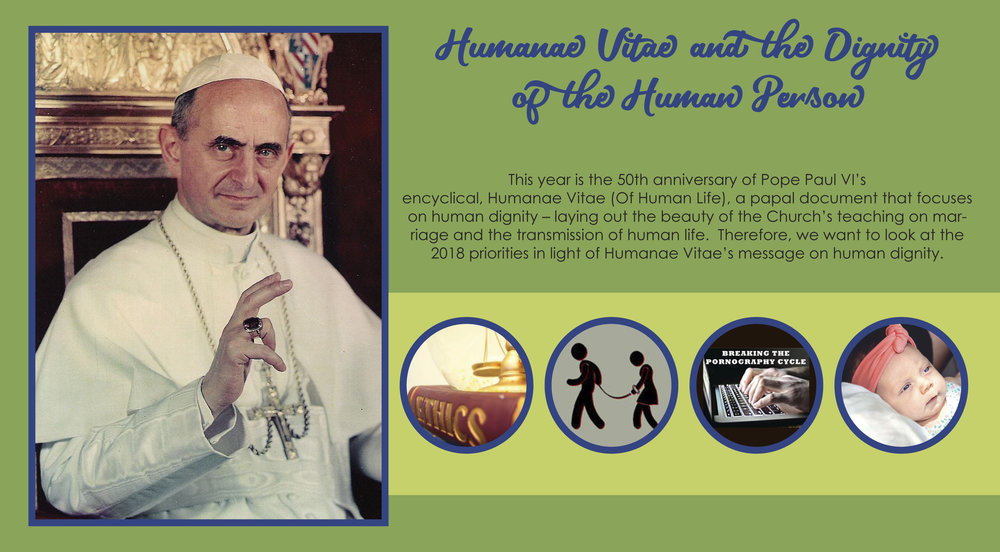 "Humanae Vitae articulates the Church's teaching about human sexuality, conjugal love, and responsible parenthood - On July 25, 1968, Pope Paul VI shocked the world when he defied the assumption of many that he would change the Church's teaching on contraception. Instead, his encyclical re-affirmed the Church's traditional teaching regarding family planning and responsible parenthood. There is an unbreakable connection between the unitive meaning and the procreative meaning [of the marital act] and both are inherent in the marital act. This connection was established by God and human beings are not permitted to break it. . ."" (Humanae Vitae, 12)The Church celebrated the 50th anniversary of the papal encyclical, Humanae Vitae (Of Human Life) on July 25, 2018. This papal document focuses on God's plan for married love and the transmission of human life."