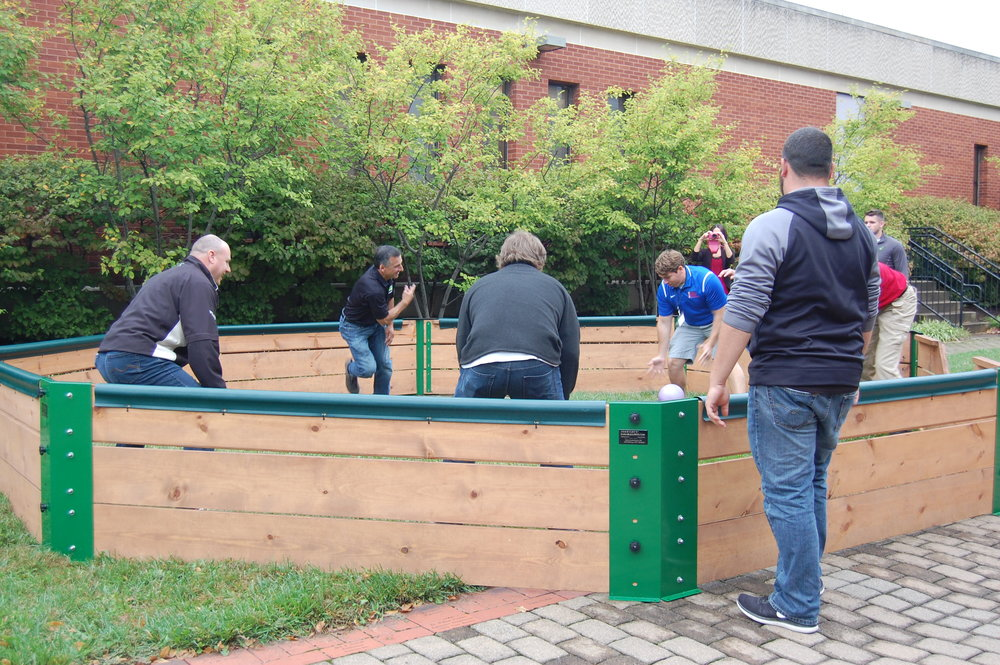 Rain fell most of the day, but it stopped long enough for attendees to get outside during lunch and try their hand at GaGa Ball.