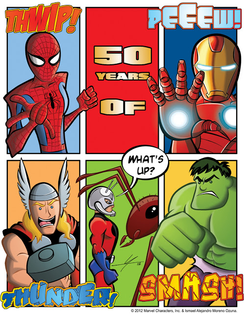 Spider-Man Hulk Thor Ant-Man Iron Man 50th Anniversary fan art