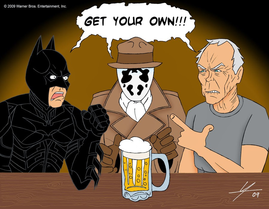 Batman, Rorschach and Walt Kowalski in The Last Beer by IAMO