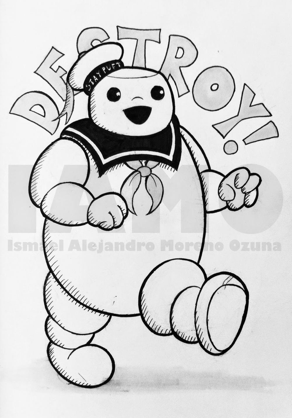 IAMO Stay Puft Marshmallow Man Ghostbusters Sketch