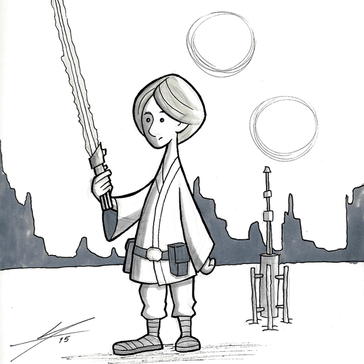Luke Skywalker on Tatooine.