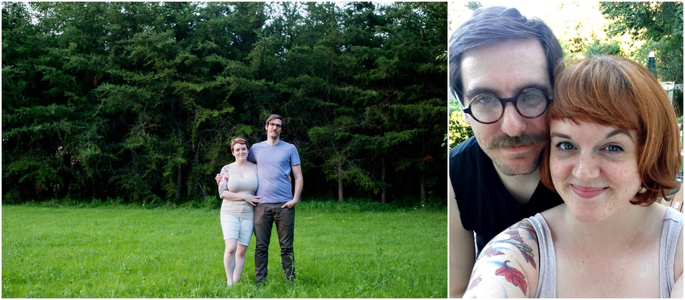 Left: Adam and I in Canada last year, and right: yesterday on our back deck