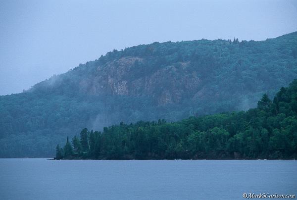 Rain clouds over Bete Grise Bay coastline, Keweenaw Peninsula; ©markscarlson.com