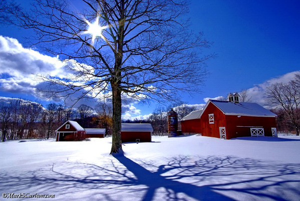 Winter-farm-scene-with-sun-star