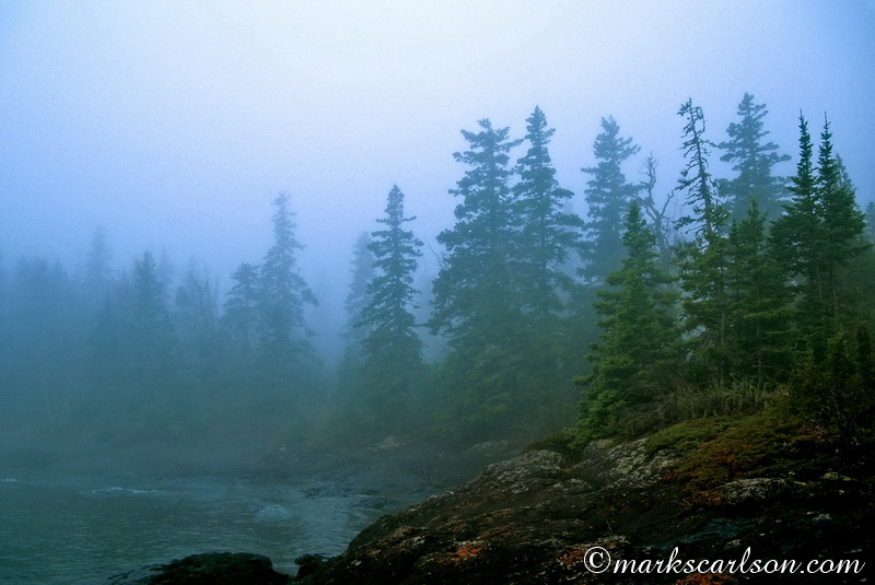 IRNP011-Foggy Scoville Harbor shoreline ©markscarlson.com