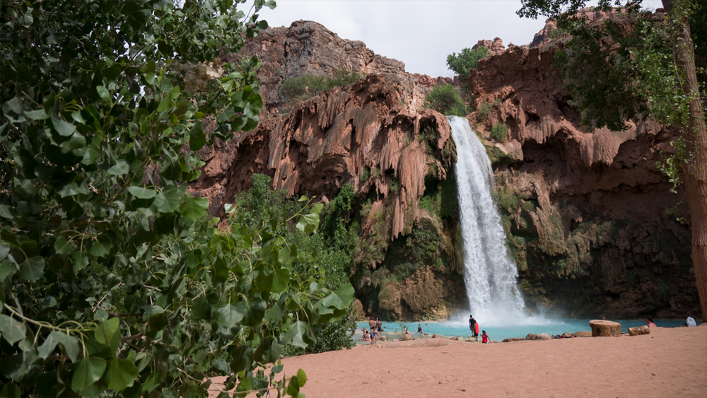 First frontal view of Havasupai falls as you decend from the trail down. This waterfall is the closest falls from the campsite. Copyright . Hobo.Life