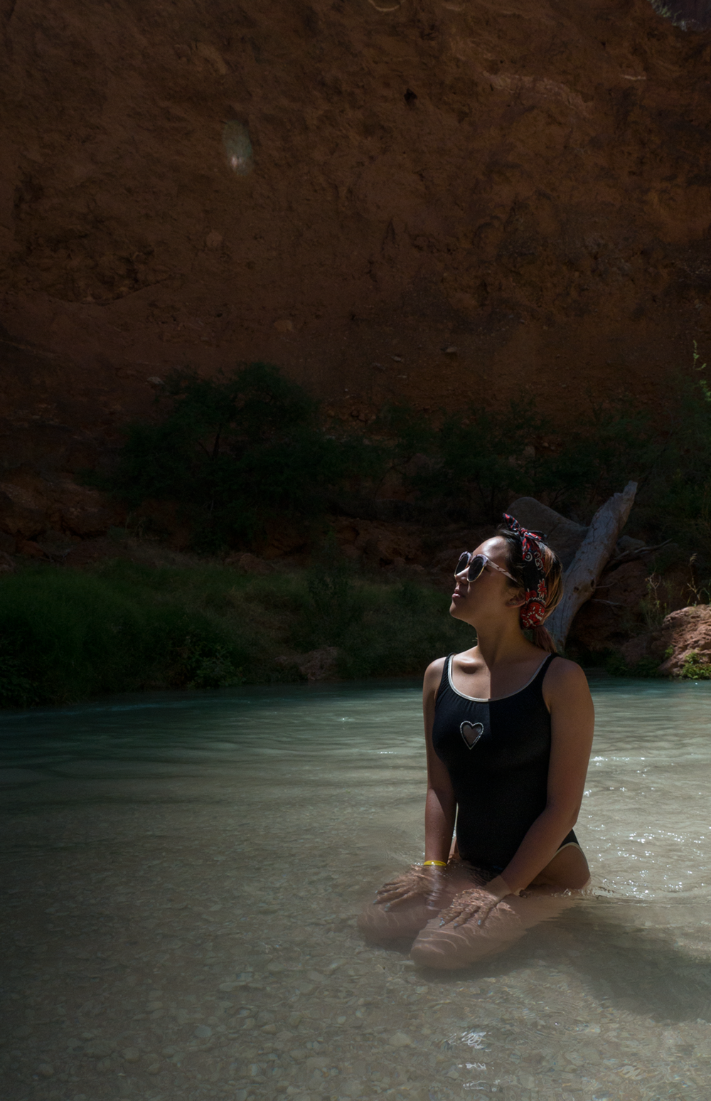 Anna Sohee Lee Modelling near Beaver Fall in Havasupai Arizona. Copyright Hobo.Life