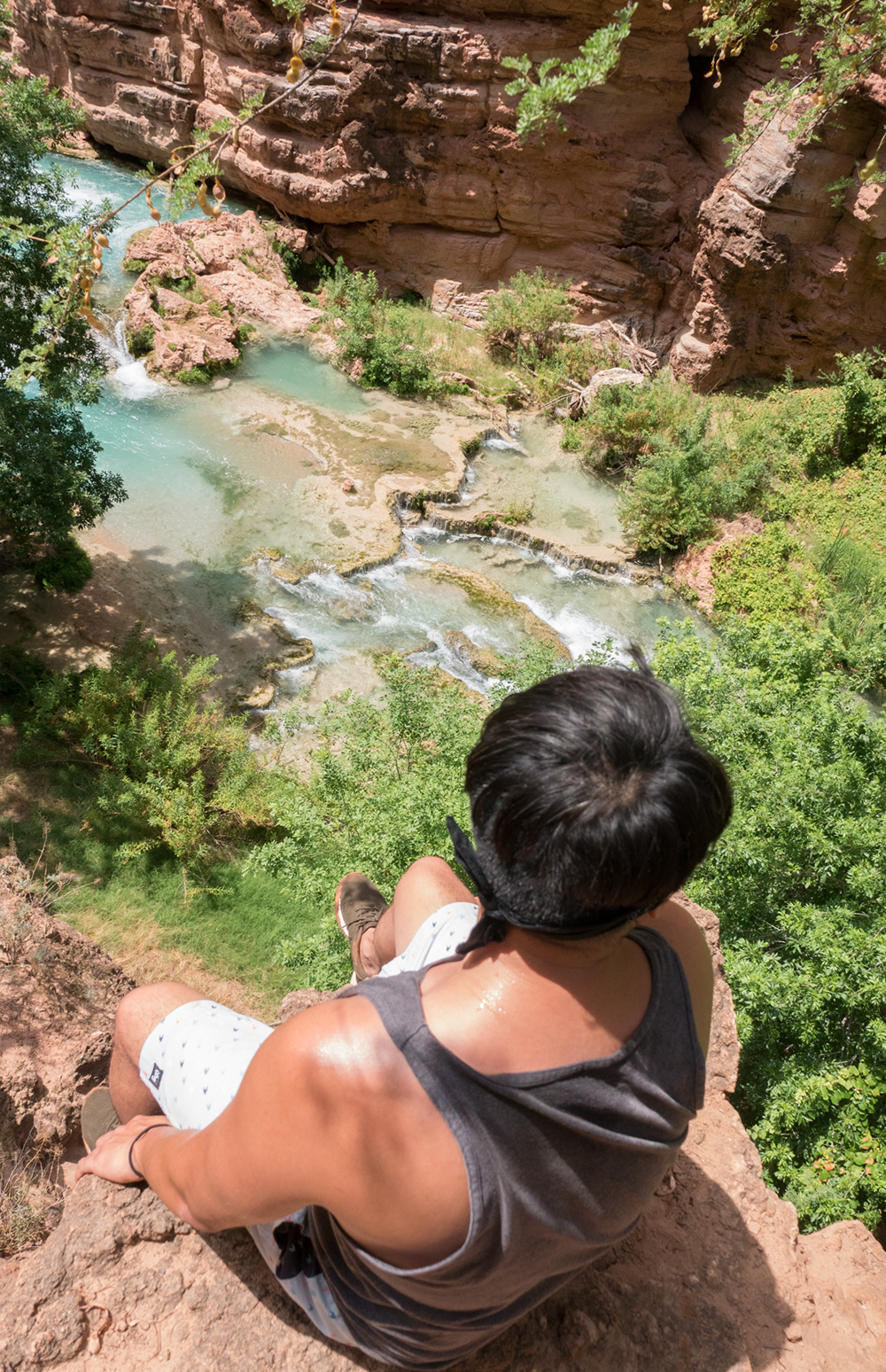 David Vu Looking down to Beaver Falls in Havasupai Arizona