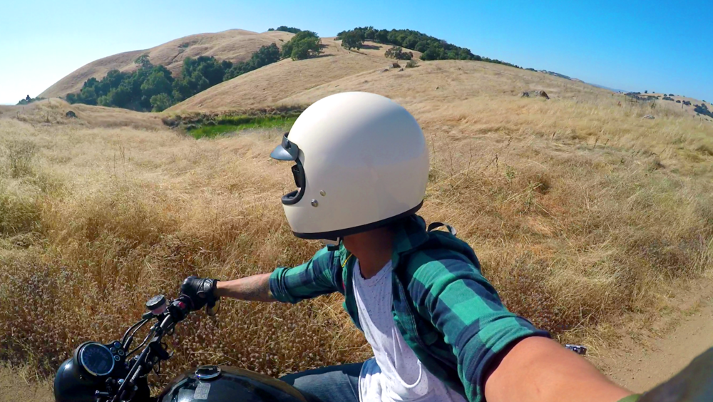 Hoang of Hobo life riding his bonneville through the back country of nor cal.