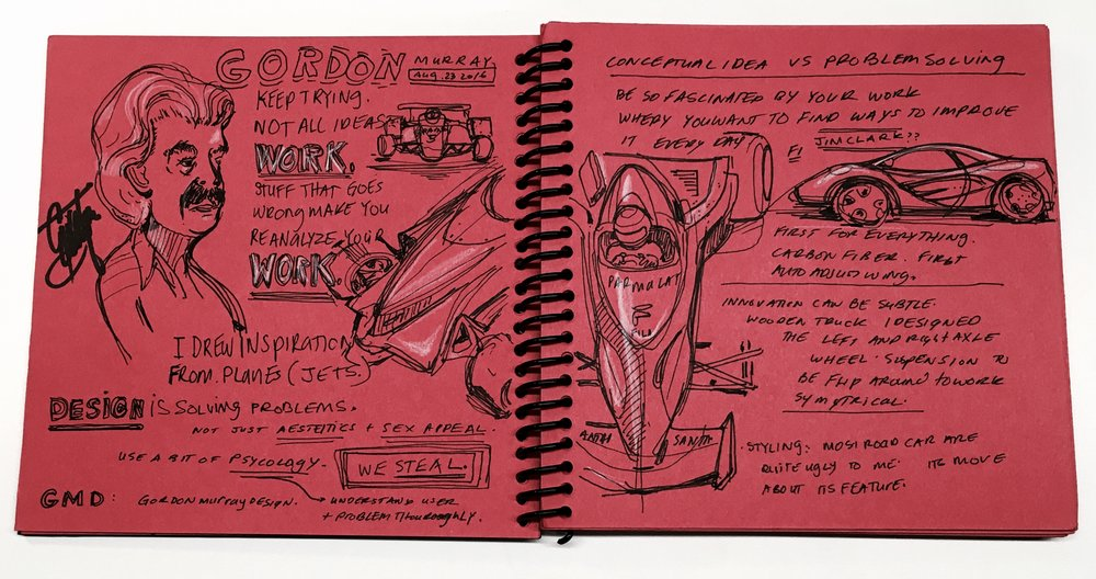 Hoang sketch book filled with notes and quotes from Gordan Murray