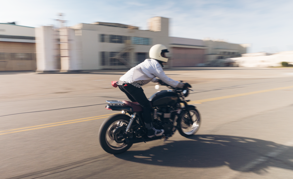 Panning photograph of hoang m nguyen on bonneville triumph . copyright hobo.life