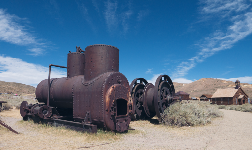 remnants of mining equipment left behind at Bodin Ghost Town.