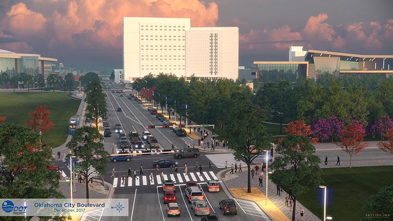 OKC Boulevard looking east