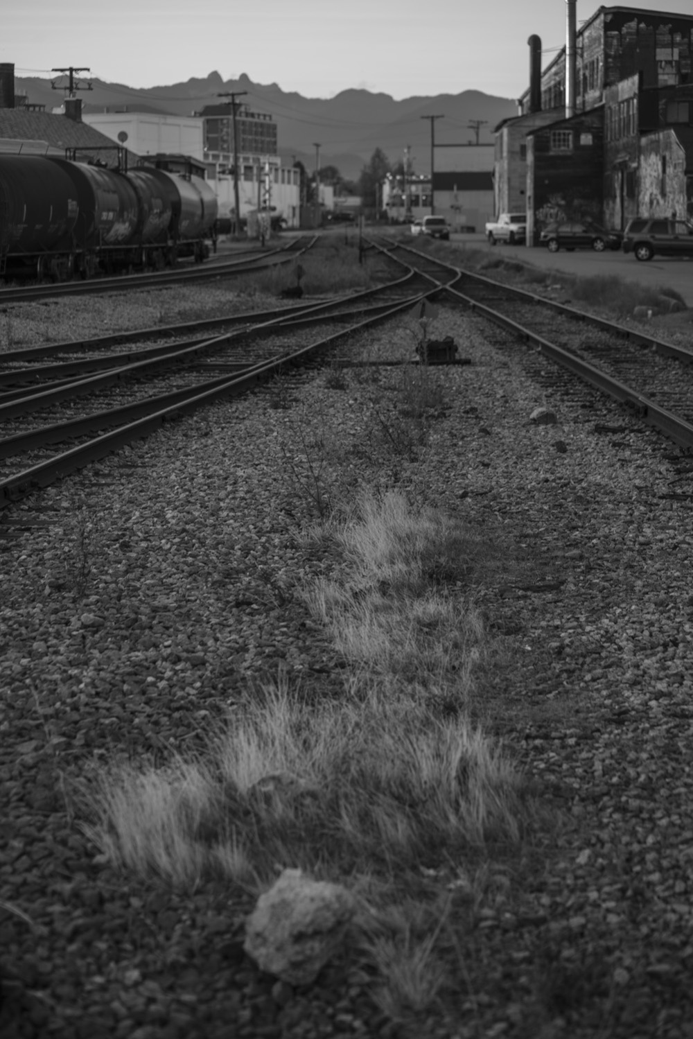 Trains tracks near William Street and Glen Drive. Vancouver BC Canada.