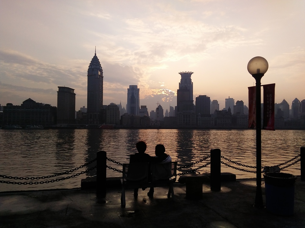 As dusk falls birdsong in Binjiang Park accompanies the wash of waves on the Pudong Shore.