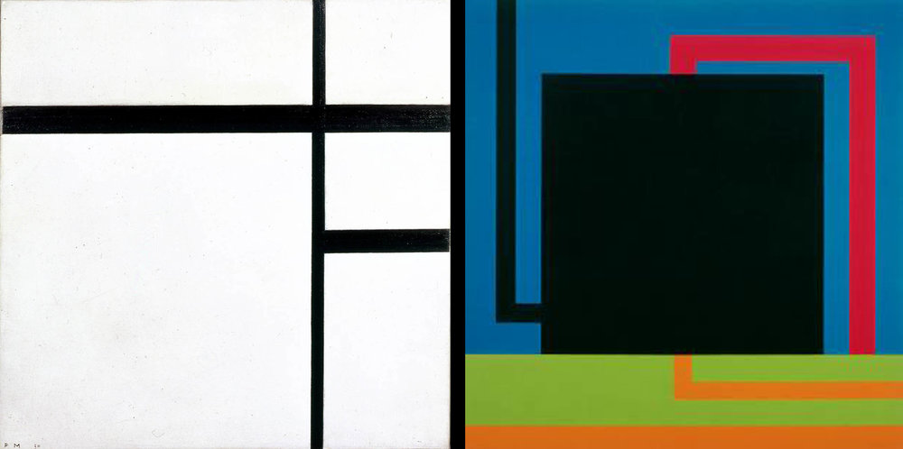 Piet Mondrian Composition No. II 1930 Oil on Canvas 50.5 x 50.5 cm Collection Van Abbemuseum  Peter Halley Collision Circuit 1989-90 Day-glo acrylic, acrylic and Roll-a-Tex on canvas 97 3/4 x 95 in. (248.29 x 241.3 cm) The Broad Museum