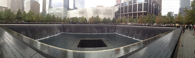 WTC 2 memorial site with museum in background.
