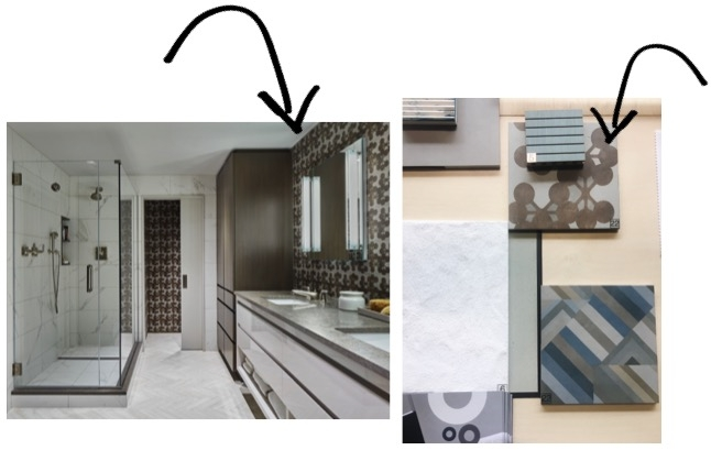 Our client's Master Bathroom on the left, and the tile we selected featured at Homi on the right!