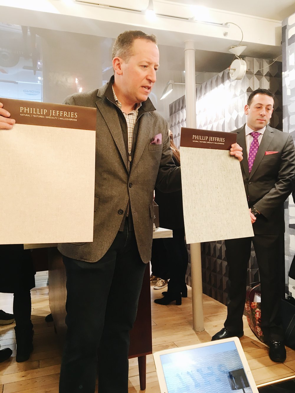 Paris Deco Off: Philip & Jeffrey (from PhillipJeffries) presenting their new line of wall coverings to our Chicago design community - Special thank you to the Holly Hunt design team!