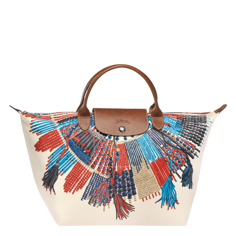 LONGCHAMP's LE PLIAGE Collection, adorned with the Maasai tribe's traditional necklace on its canvas.
