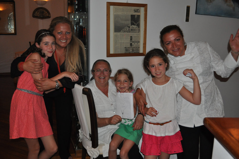 Our girls with the ladies of Ristorante Donna Rosa in 2012.