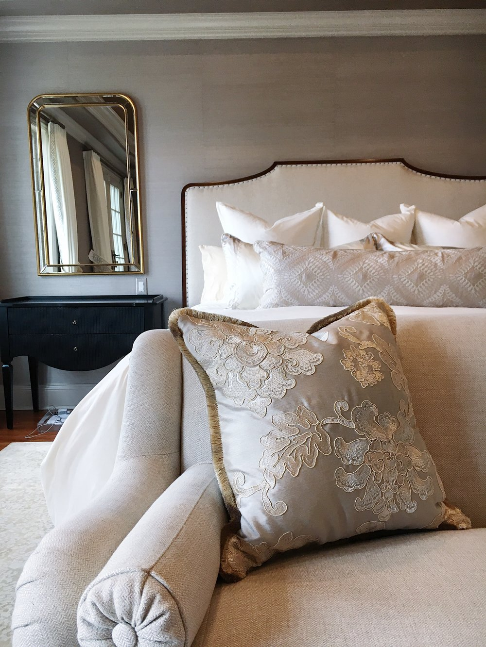In-process snapshot of a decadent Master Bedroom for a dream client!