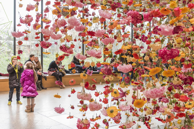 The beautiful installation at Bikini Berlin shopping centre by Rebecca Louise Law. It's raining flowers!