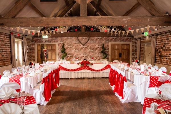 The reception venue, Rockabilly polka dot wedding