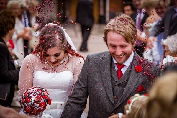 The happy couple Bridal button bouquet