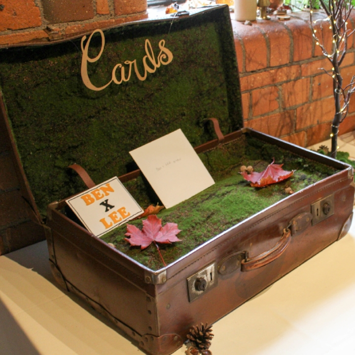 Vintage Moss card suitcase - It is always an important to have somewhere for your guests to put their cards. This vintage suitcase shows its age in all the right places and with the moss interior is a great addition to your entrance table.