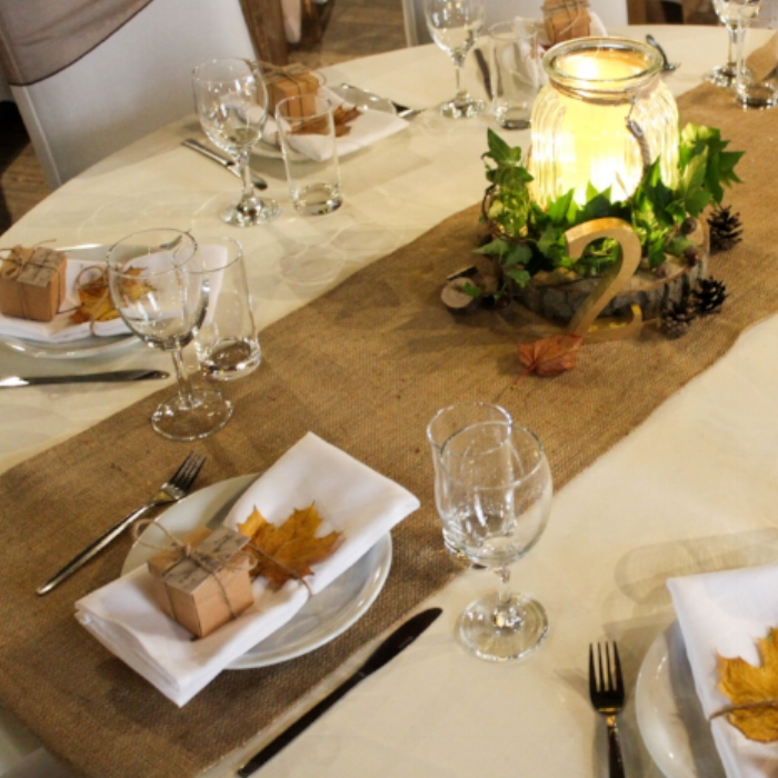 Hessian table runners - Hessian is a great fabric to add texture to your tables and interest to your table settings. If you are really feeling adventureous you could even go with full hessian table cloths.