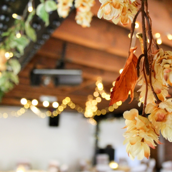 Hop and Ivy fairly light garlands - To create a cohesion in the room it is always important to think about your ceiling, particularly if it is a low one! Adding garlands to beams adds light but also echoesthe foliage in the rest of the space., These garlands feature Ivy, leaves and hops but can include whichever greenery you wish.