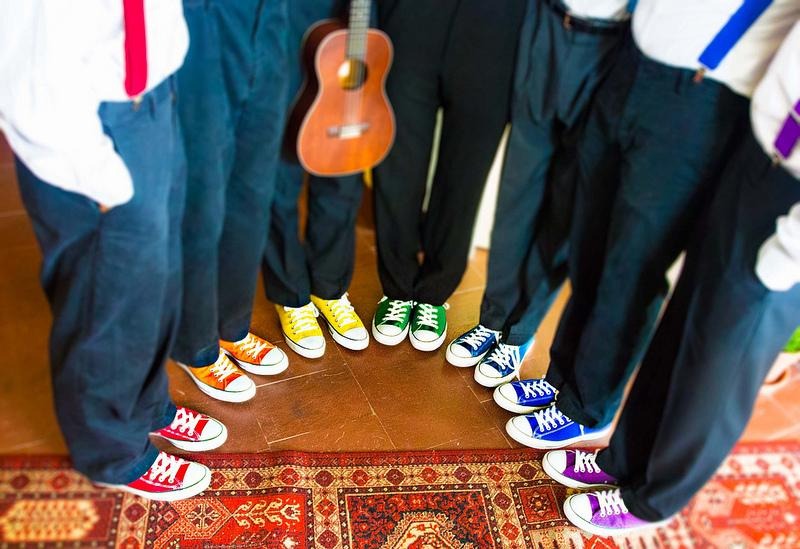 Wedding converse rainbow colours