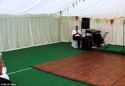 This marquee's green carpet is either a love it or hate it moment!