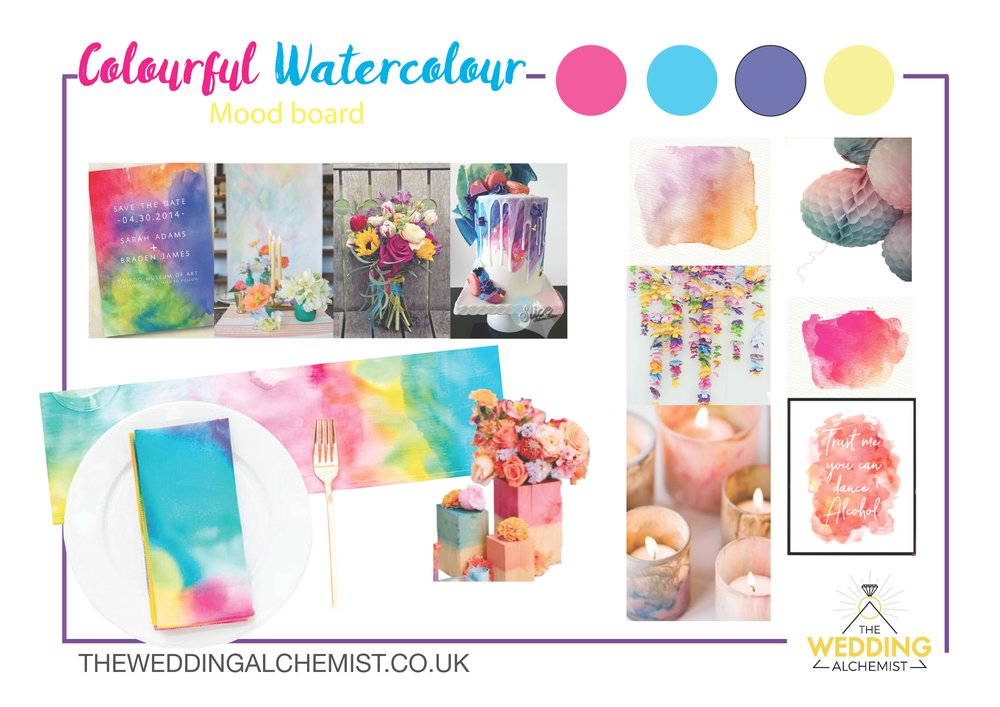 Colourful Watercolour Weddings - Bring a pop of colour in a soft dreamy way.