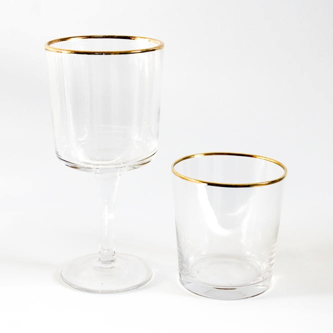 Glassware - Another overlooked detail but well worth the extra investment. These unusual shaped glasses with the gold rim create interest whilst keeping things simple.
