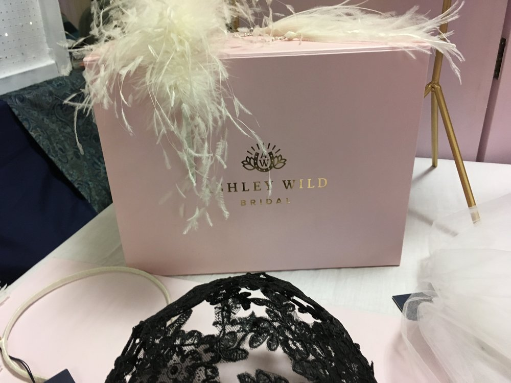 My lovely Neighbour for the day  Ashely Wild Brida l had some great millinery pieces and veils but I also love her branded boxes, how classy!