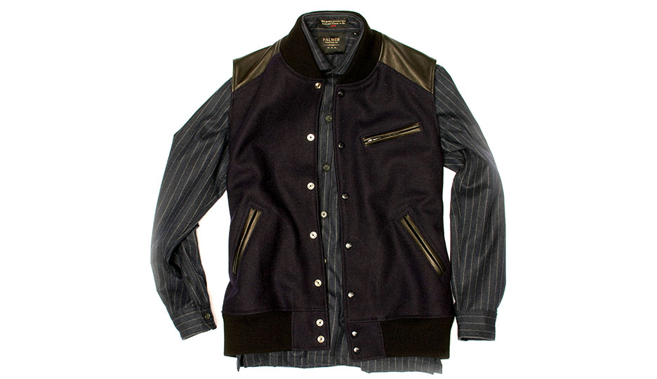 Palmer Trading Company Chalk Striped overshirt made in Massachusetts with Loro Piana cashmere/wool fabric. Heavy Wool Pony Boy Vest with navy wool body fabric and black lambskin shoulder panels/zipper trim. Quilted interior lining.