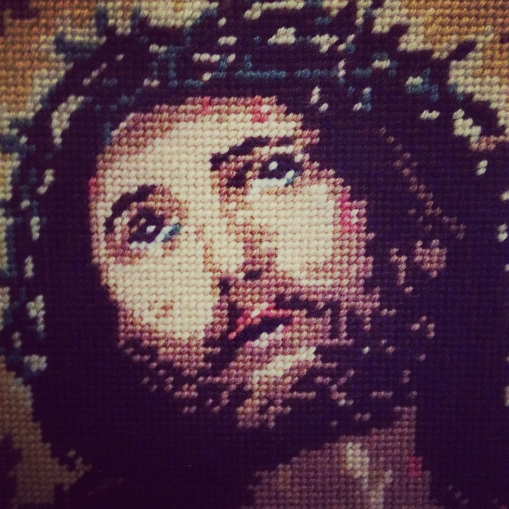 Needlepoint image of Jesus Christ