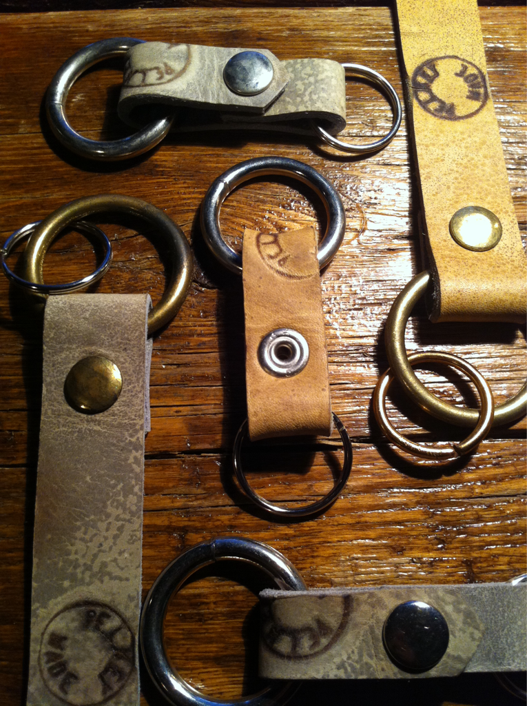 PTC Leather Goods    Hand-made moccasin leather key fobs.  Solid brass nickel plated weight rings keep your keys at the bottom of your pocket or your bag.