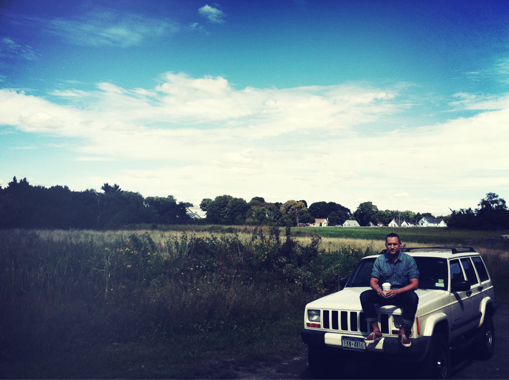 Making it in America Taking a break today while working on shoes in Maine. That's Willy sitting on the PTC Jeep. Shirt: KH+PTC One-O-One in blue chambray